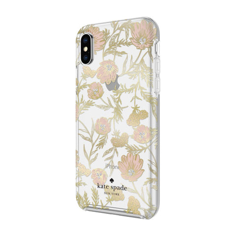 Kate Spade New York iPhone X Case - Multi Blossom Pink/Gold with Gems