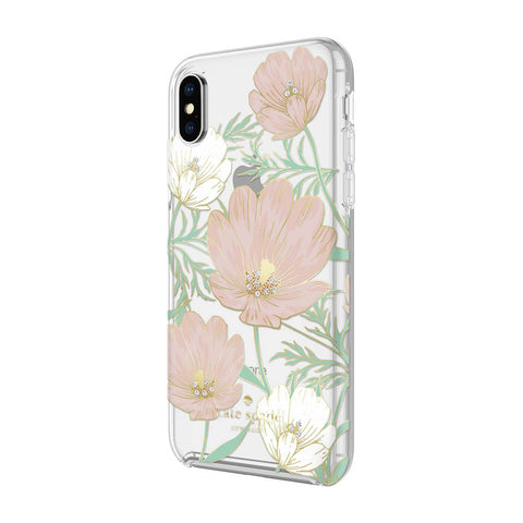Kate Spade New York iPhone X Case - Multi Large Blossoms Gold Foil with Gems