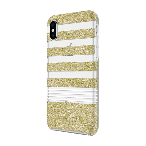 Kate Spade New York iPhone X Hardshell Case - Gold Glitter Stripe