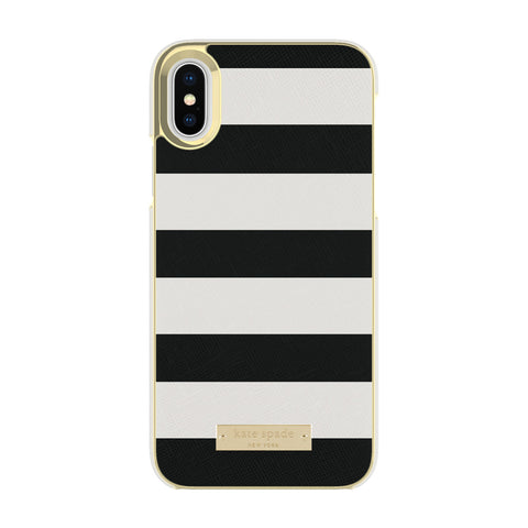 Kate Spade New York iPhone X Wrap Phone Case - Black White Stripe