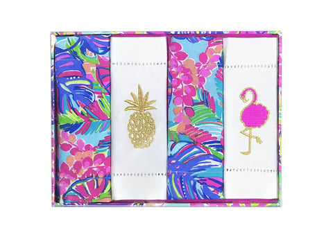 Lilly Pulitzer Cocktail Napkins Set of 4 - Exotic Garden