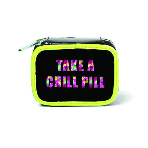 Miamica Black Yellow Floral Pill Case- Take a Chill Pill