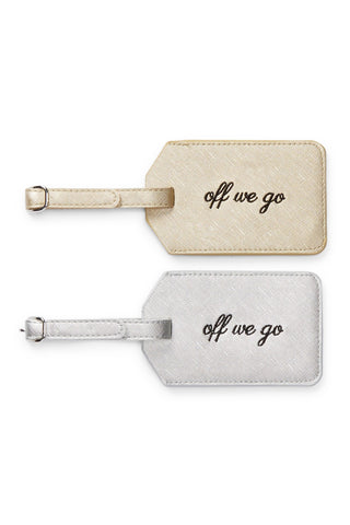 Miamica Gold and Silver Saffiano 2 Piece Luggage Tag Set- Off We Go