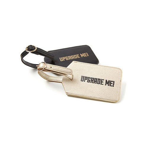Miamica Gold and Black Saffiano 2 Piece Luggage Tag Set- Upgrade Me