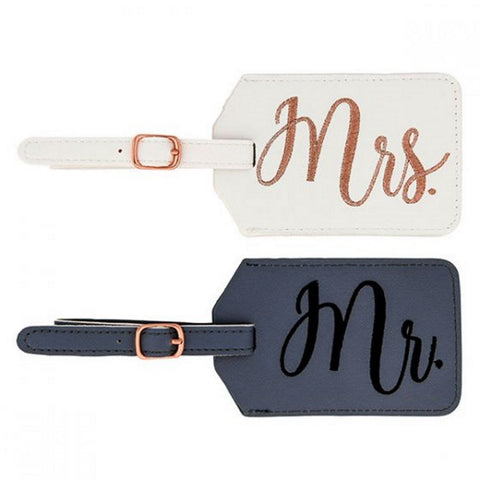 Miamica Gray and White Mrs. & Mr. Bridal Luggage Tags
