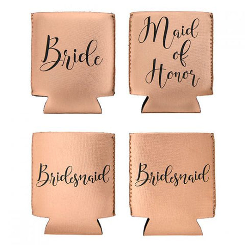 Miamica Bride & Bridesmaid Set of Four Cozies - Rose Gold