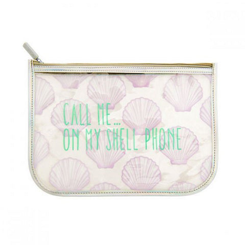 Miamica Iridescent Silver Travel Pouch - Call Me... On My Shell Phone