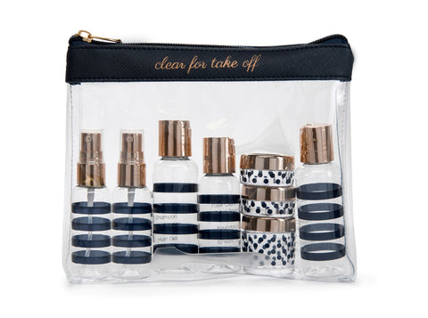 Miamica TSA Compliant Carry On Case Assorted Bottles-  Navy