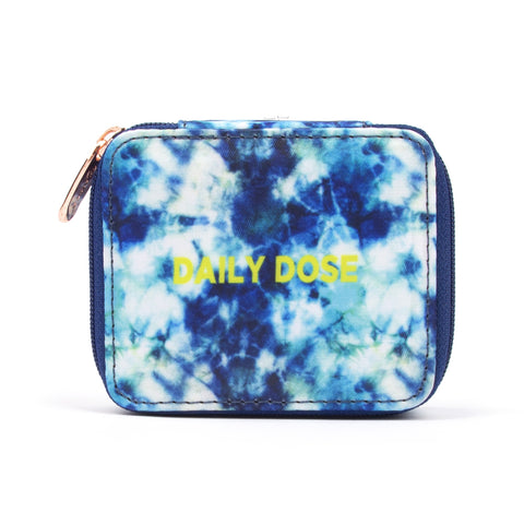 "Miamica Women's Pill Case ""Daily Dose"" Pill Organizer Box - Blue Tie-Dye"