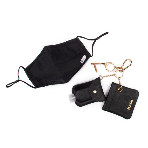 Miamica 4 Pc. Mask, Clean Key, Bag for Mask & Bottle Set - Black