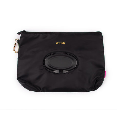 Miamica Reusable Wipe Holder and Mask Organizer Black with Gold