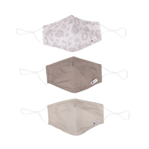 Miamica Set of 3 Fashion Cloth Face Mask - Grey Leopard, Khaki, Taupe