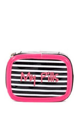 Miamica Black Pink Stripes Pill Case- My Pills