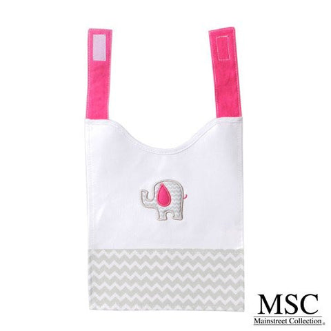 Mainstreet Collection Pink and Grey Chevron Baby Girl with Elephant Embroidery Wipeable Coated Canvas Bib