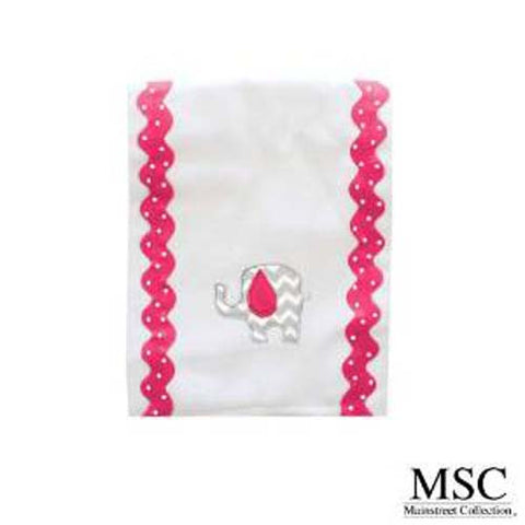 Mainstreet Collection Pink and Grey Chevron Baby Girl with Elephant Embroidery Burp Cloth