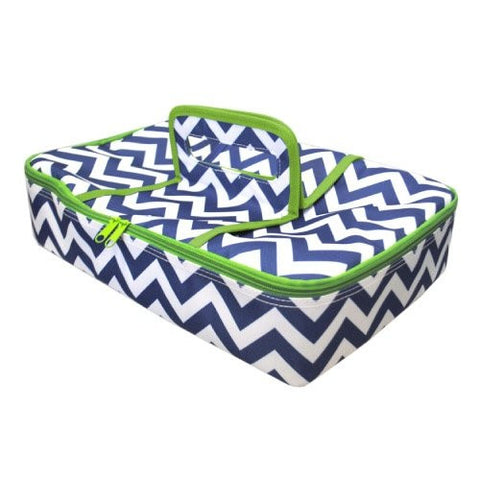 Mainstreet Collection Blue and White Chevron Retro Print Insulated Casserole Carrier
