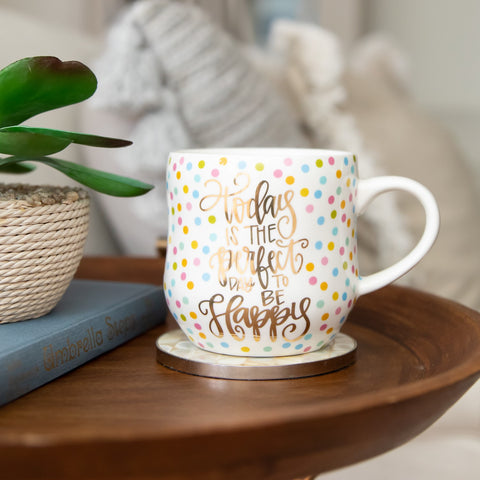 Mary Square 18oz Ceramic Coffee Mug - Today is the Perfect Day to be Happy