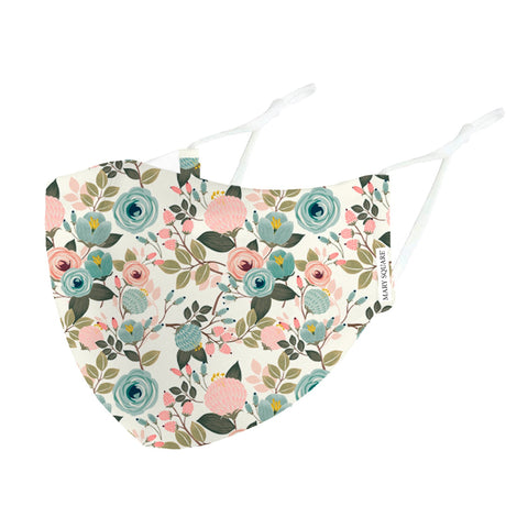 Mary Square Adult Fashion Face Mask Adjustable Ear Strap - Peach Floral