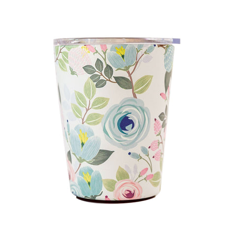 Mary Square 12 oz Stainless Coffee Tumbler With Lid - Peach Floral