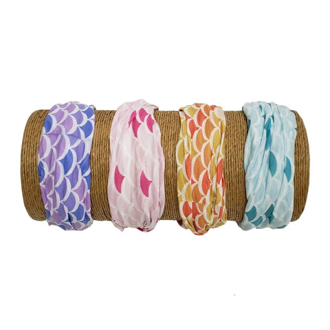 "Bamboo Trading Company Boho Wide Headbands - Set of 4 Mermaid Print Headwraps - 16""L x 9""W - Blue, Pink, Purple, Yellow"