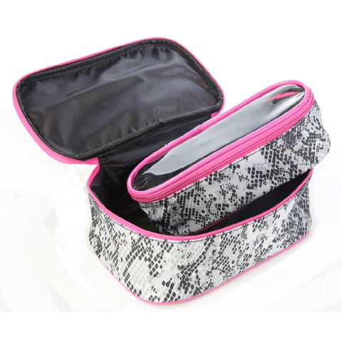 Miamica Inner Beauty 2 Piece Black & White Python Travel Cosmetic Case