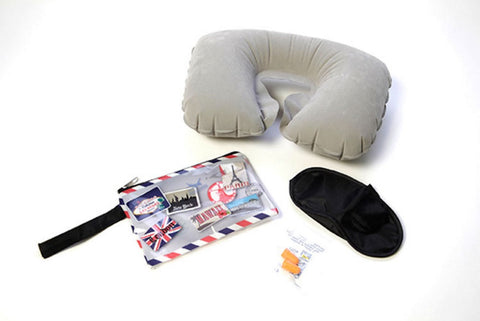 Miamica Vintage Stamps Travel Kit with Inflatable Travel Pillow, Eye Mask, Earplugs and Tolietry Bag