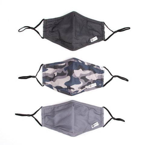 Miamica Set of 3 Fashion Cloth Face Mask - CAMO, Grey, and Black