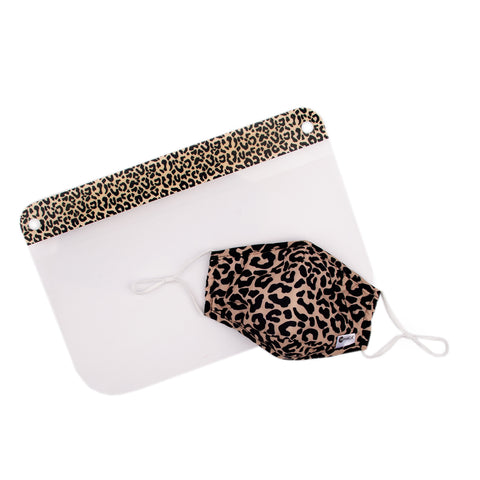 Miamica 2 Piece Coordinating Reusable Face Shield & Face Mask - Leopard Print