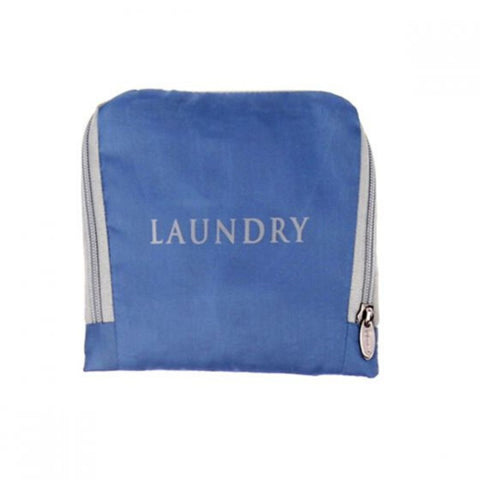 "Miamica Blue & Grey ""Laundry"" Travel Expandable Laundry Bag"