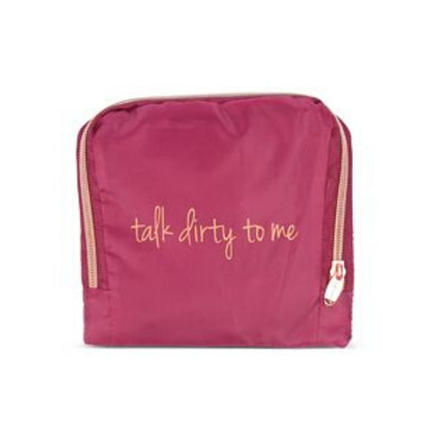"Miamica Burgundy & Gold ""Talk Dirty To Me"" Travel Expandable Laundry Bag"