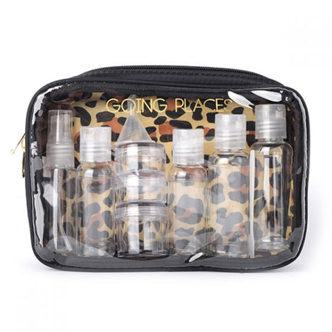 Miamica LEOPARD BOTTLE KIT Women's TSA Compliant Travel Bottles Toiletry Bag