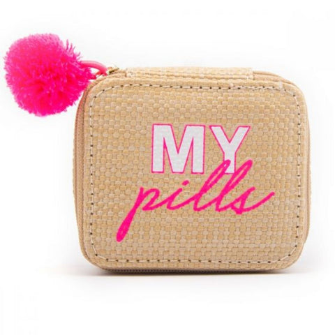 "Miamica Women's Pill Case ""My Pills"" Pill Organizer Box - Pom Pom"