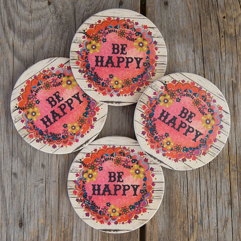 Natural Life Set of 4 Car Coasters- Happy