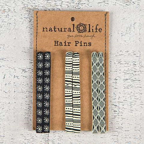Natural Life Hair Pin Set- Black & White