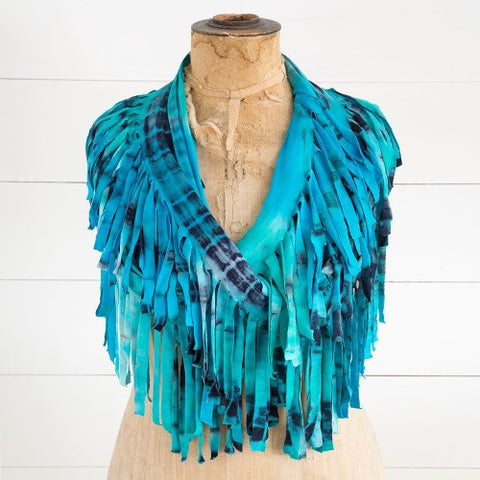 Natural Life Infinity Fringe Scarf- Turquoise & Navy Tie-Dye