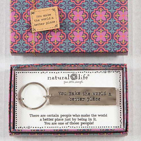 "Natural Life ""World Better Place"" Keychain Boxed Gift"