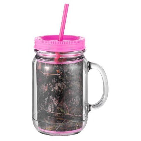 Occasionally Made Mossy Oak Mason Jar Camouflage Pink Camo Insulated Lid Straw