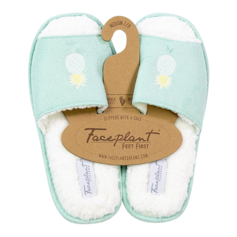 Faceplant Dreams Vegan Suede Fluffy Slides - Pineapple