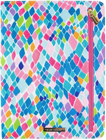 Mary Square Blue Pink Multi-Color Canvas Portfolio and Notepad - Santorini