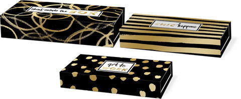 Molly and Rex Black and Gold Pencil Boxes with Think Chic - Set of 3