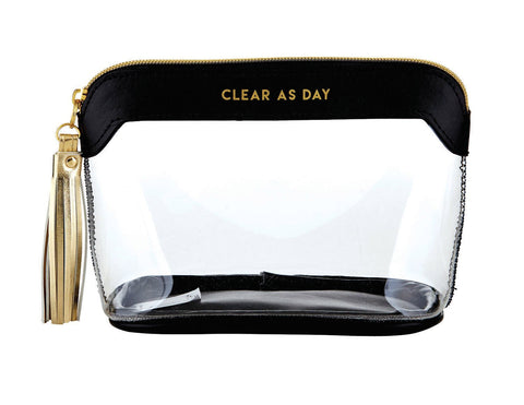 Santa Barbara Clear Travel Bag Black & Gold - Clear As Day