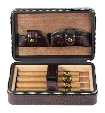 4 Cigar Cedar Wood Lined Portable Travel Case - Brown Crocodile PU Leather