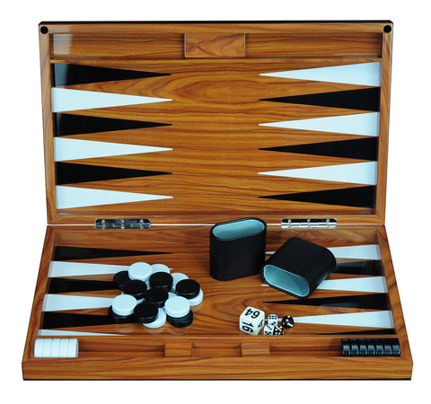 "Deluxe Wood 18"" Lacquered Backgammon Board Game Set"