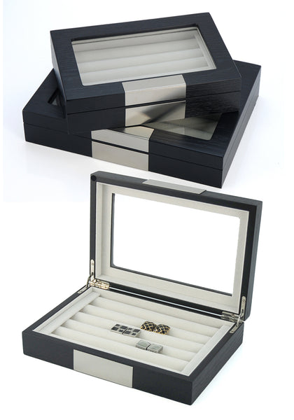 Black Ebony Wood Cufflink Case Ring Storage Organizer with