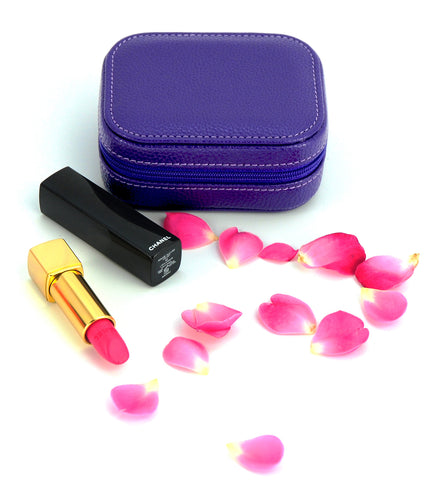 Lipstick Cosmetic Case with Mirror - Purple