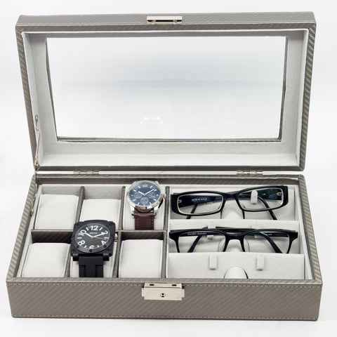 6 Watch and 3 Eyeglass Pewter Carbon Fiber Storage Display Case