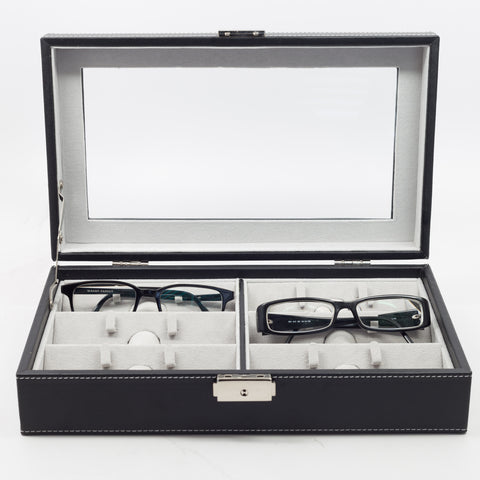 6 Eyeglass Black Leatherette Storage Display Case
