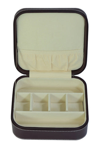 Brown 3 Compartment Sunglass Travel Case & Jewelry Box