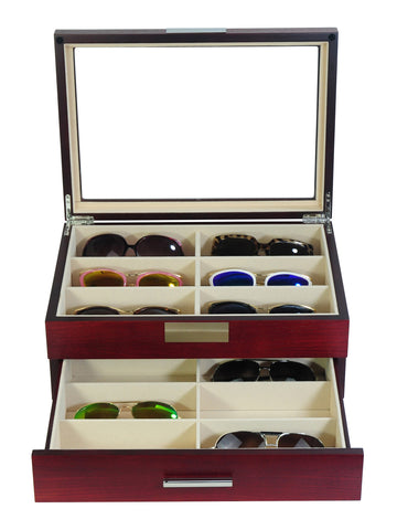 12 Piece Large Cherry Wood Eyeglass Display Case with Drawer Storage Box