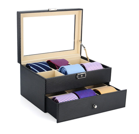 12 Piece Black Carbon Fiber Tie Display Case With Drawer